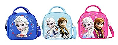 Disney Frozen Lunch Box Carry Bag with Shoulder Strap and Water Bottle by GoodyPlus
