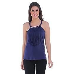 Meish Dark Blue Solid Top for Women