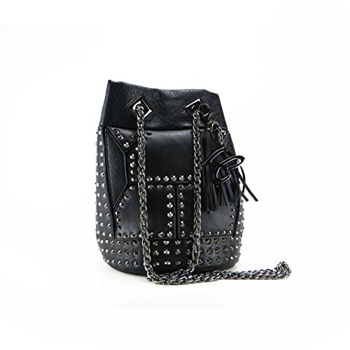 SECCHIELLO LA CARRIE BAG 162-S-125 NERO BORCHIE A CONO MIS. SMALL