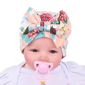 Tenworld Nursery Baby Hats Flower Bowknot Newborn Girl Hospital Hat (Pink)