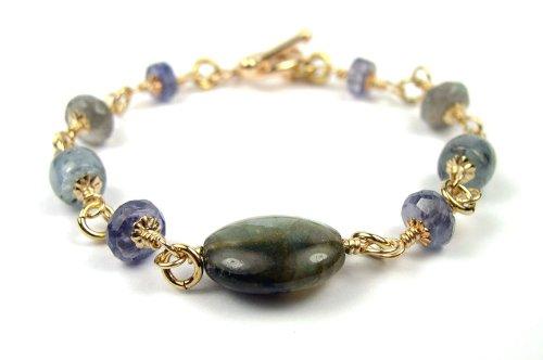 Damali 14K Spiritual Journey Bracelet w/ Labradorite, Kyanite, Iolite - Small 6.5 In