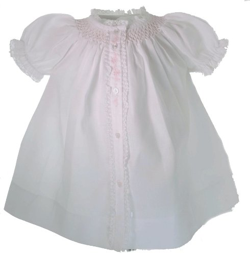 Feltman Brothers Newborn Baby Girls White & Pink Daydress With Smocking & Lace Trim front-701585