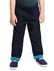 Pure Cotton Ribbed Waistband Trousers