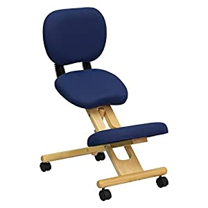 Mobile Wooden Ergonomic Kneeling Posture Chair In Fabric With Reclining Back