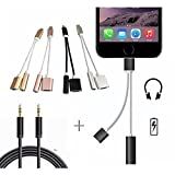 2 in 1 iPhone 7/7Plus Adapter, Premium Lightning Charger & 3.5mm Aux Headphone Jack Audio Adapter.(With FREE 3.3ft Nylon Braided 3.5mm Aux Cable).Charge & Listen Music together, All in one COMBO PACK!