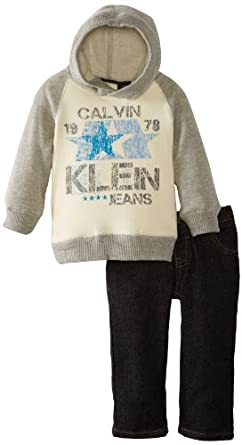 Calvin Klein Baby-Boys Infant Cream-Gray Hooded Pull Over With Jeans, Cream, 12 Months
