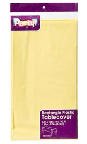 """YELLOW Plastic Table Covers, 54x108"""" (2-pack)"""