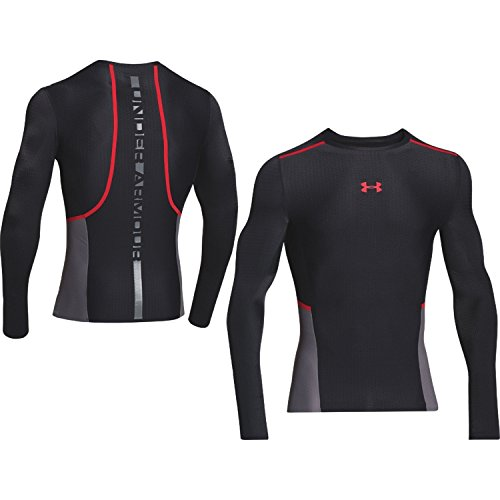 Mens ClutchFit Compression Long Sleeve Shirt, Black/Risk Red, Small
