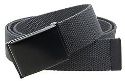 Canvas Web Belt Flip-Top Black Buckle/Tip Solid Color 50\