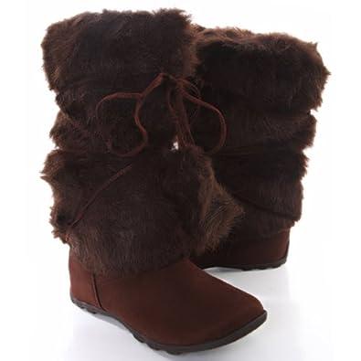 Brown Mukluks Super Furry Pom-pom Snow Winter Flat Boot (5.5)