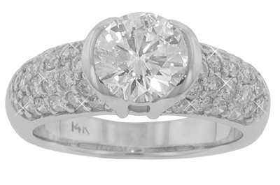 2.50 ct. TW GIA Certified Round Cut Diamond Engagement in 14 kt. Half Bezel Ring
