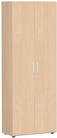 Armadio guardaroba a con porta appendiabiti estraibile, con piedini, con porta sordina, chiudibile a chiave, 800x 420x 2160, faggio/faggio