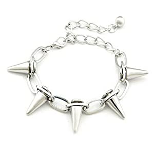"Worldfashion New Fashion Women Lady Punk Rock Rivet Spike Studs Bracelet Bangle Chain 9.45"" (Silver)"