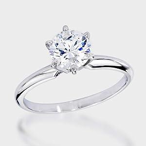 IGI Certified 0.94 Carat (ctw) 14K White Gold Real Round Diamond Ladies Engagement Solitaire Ring by DazzlingRock