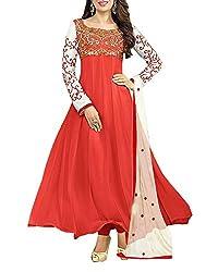 Surat Dream Women's Georgette Unstitched Dress Material(EC107, Red)