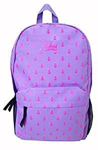 Fedo Solid Color Anchors Pattern Backpack (Purple Pink)