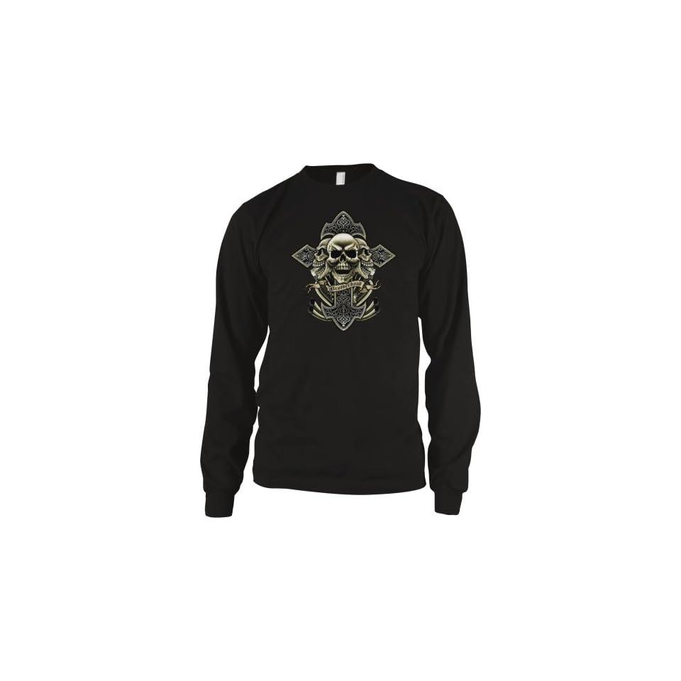 Skulls Cross and Motorcycle Engine Mens Thermal Shirt, Brotherhood Of Bikers Mens Long Sleeve Thermal Clothing
