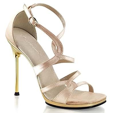Amazon.com: Women Posh Nude Satin Strappy Sandal Heels