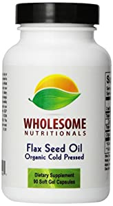 Wholesome Nutritionals Organic Cold Pressed Flax Seed Oil, 1000 mg, 90 Count