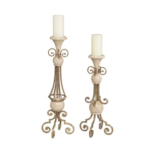 Kichler Lighting 78093 Venezia Burnished Silver and Antique Marble Candlesticks, Set of Two