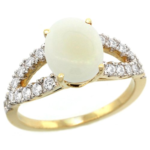 Revoni 14ct Yellow Gold Opal Engagement Ring 1.41 Carats Oval Cut Stone 0.35 cttw Diamonds,