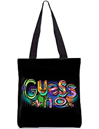 Snoogg Guess Who Designer Poly Canvas Fashion Printed Shopping Shoulder Lunch Tote Bag For Women