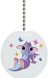 Carolina Hardware and Decor 1831F Baby Dragon Butterflies Ceramic Fan Pull