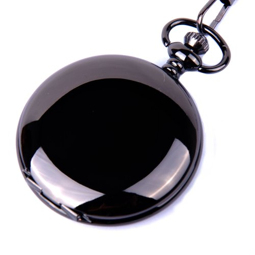 ShoppeWatch Pocket Watch Quartz Movement Black Case White Dial Arabic Numerals with Chain Full Hunter Design PW-23