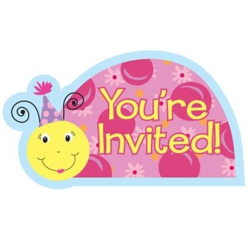 Lil Lady Bug Diecut Postcard Invitations 8 Per Pack