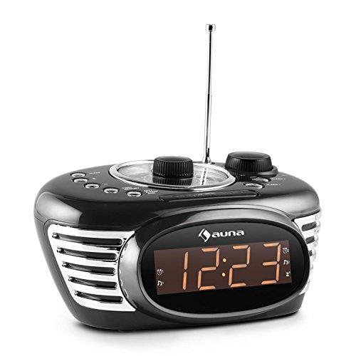 Auna RCR 56 BK Digitaler Retro Radiowecker Mini Weckerradio mit 2 Weckzeiten (UKW-Radio-Tuner, AUX, Dual-Alarm, Snooze-Slummerfunktion, Vintage-Look) schwarz