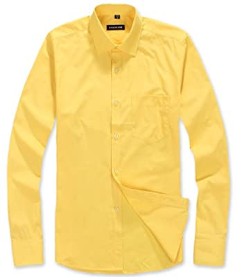 Itaiti Men 39 S Yellow Long Sleeve Cotton Dress Shirts Xxl At