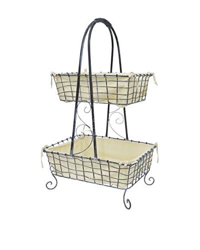 Three Hands 2-Tier Metal & Fabric Basket