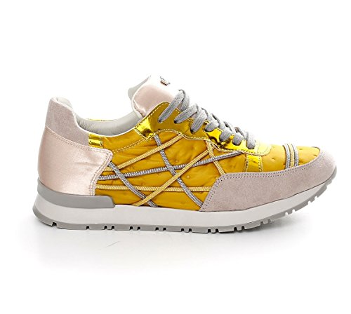 Scarpe Sneakers L4K3 LAKE Donna Mr BIG Ecocamoscio Piumino Raso Giallo (38 EU)