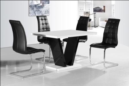 Zara Black and White High Gloss Dining Table + 4 Enzo Dining Chairs