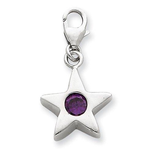 Sterling Silver February CZ Birthstone Star Charm