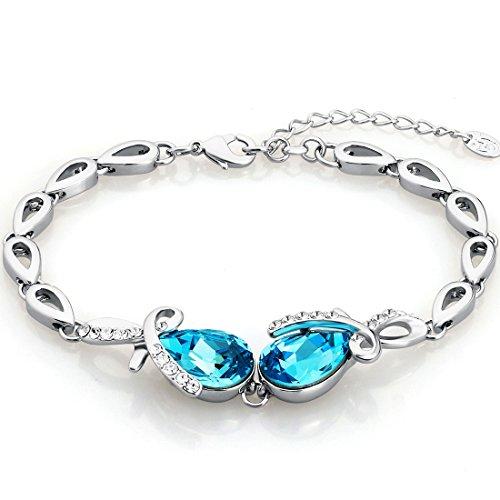 Neoglory-Swarovski-Elements-Mujer-Pulsera-Brazalete-Chapado-en-Oro-Blanco-Hecho-con-Cristal-Azul-Gotas-Lgrimas-y-Blancos-Diamantes-Austriacos-Joya-Original-Regalos-para-Mujer