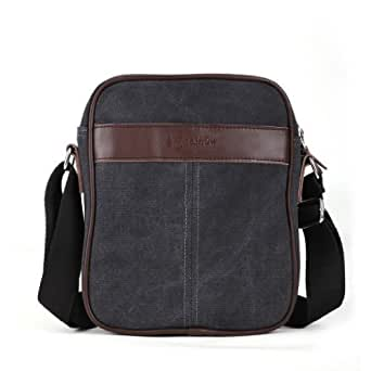 Eshow Men's Small Canvas Cross Body Notebook Satchel Bag, Black