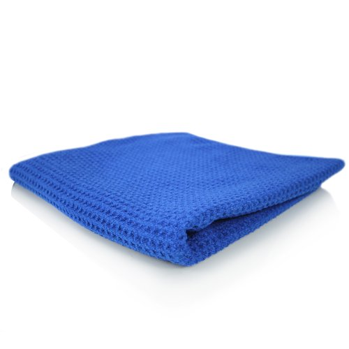 "Chemical Guys Mic_701_01 - Glass And Window Waffle Weave Towel, Blue 16"" X 27"" front-127388"