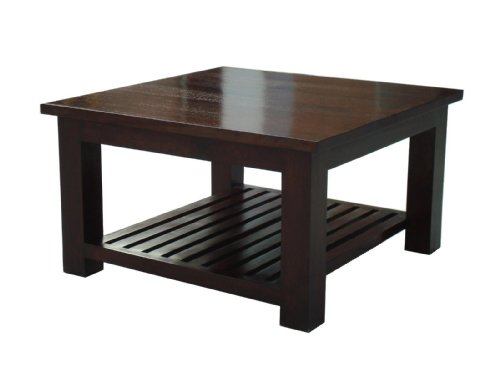Homescapes Mangat Square Coffee Table , 100% Mango Wood Furniture, Walnut Shade. 80 x 80 x 45 cm With a Storage Shelf