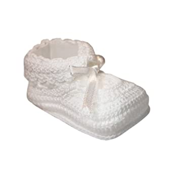 Tic Tac Toe Crochet Bootie with Ribbon Trim - White, 0-6 Months