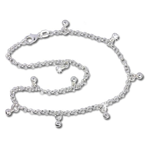 SilberDream anklet Bollowood, 10.03 inch 925 Sterling Silver SDF015