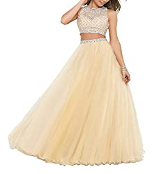 ALW Women's Beaded Two Piece Prom Party Dresss Tulle Ball Gown ALW059