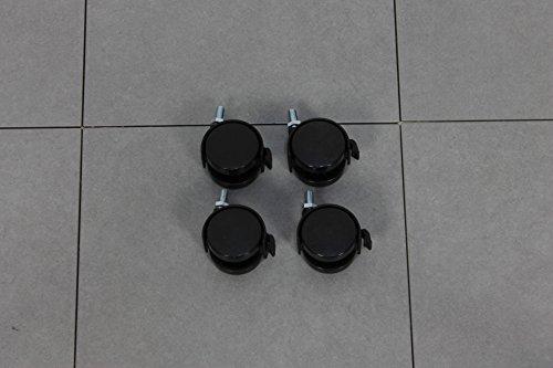 4x Kunststoff Rollen Transport Möbel Drehstuhl Brems