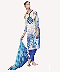 White Printed With Embroidery Cotton Silk Salwar Suit