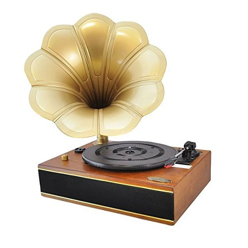Pyle Home PNGTT1R Classic Horn Phonograph/Turntable with USB-To-PC Connection and Aux-In (Mahogany) 0