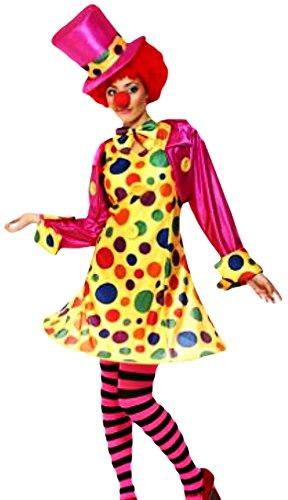 erdbeerloft - Damen Circus-Clown Frauen-Kostüm, komplett 5-teilig, pink gelb, 44-46 L