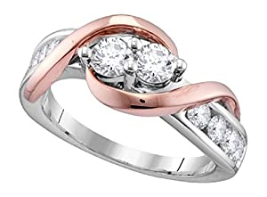 0.75 cttw 14k Rose and White Gold Round Cut Diamond Two Stone Engagement Bridal Wedding Anniversary Ring