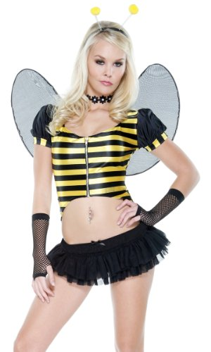 Womens Sexy Fitted Bumble Bee Scoop Neck Puff Sleeve Mini Halloween Costume Set