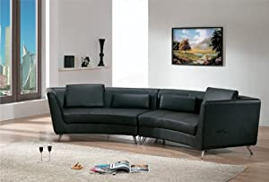 Amazoncom contemporary furniture black leather long for Curved sectional sofa amazon