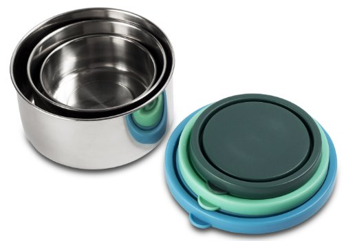 Mira Set Of 3 Stainless Steel Lunch Box And Food Storage Containers, Multi Color front-892845